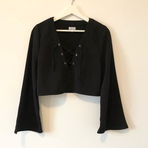 Tobi Lace Up Bell Sleeve Crop Top